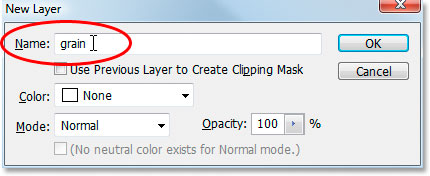 Photoshop's New Layer dialog box