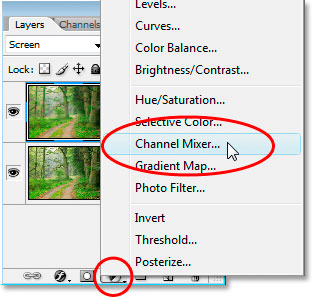 Selecting Channel Mixer from the list of adjustment layers