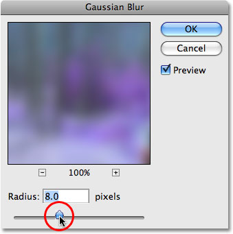 The Gaussian Blur filter in Photoshop. Image © 2009 Photoshop Essentials.com.