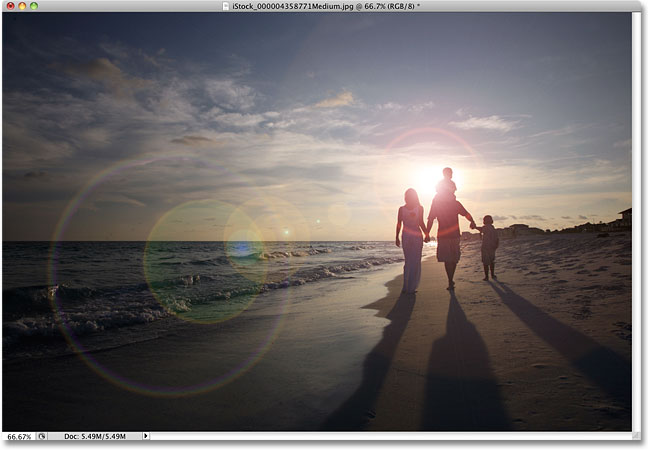 The initial Photoshop lens flare effect.