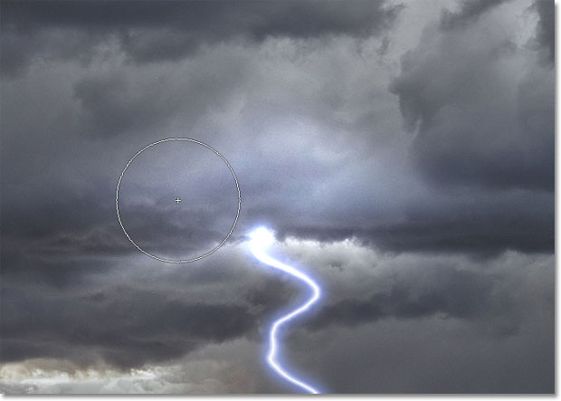 Lightening clouds with the Dodge Tool in Photoshop.