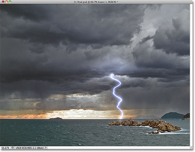 Photoshop lightning effect.