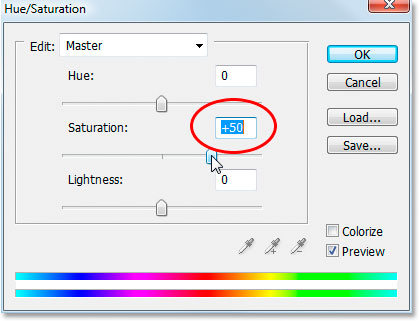 Photoshop's Hue/Saturation dialog box