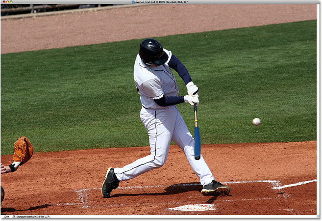 A photo of a baseball player at bat. Image licensed from iStockphoto by Photoshop Essentials.com.
