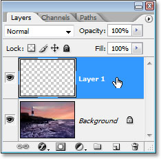 The new layer, 'Layer 1', above the Background layer in Photoshop's Layers panel