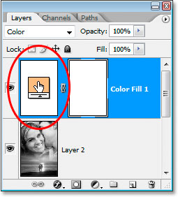 The Solid Color fill layer's color swatch icon in the Layers palette.