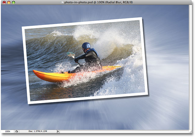 The Radial Blur filter applied to the image in Photoshop. Image  © 2008 Photoshop Essentials.com.