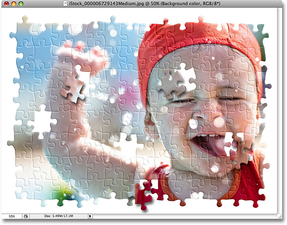 The background for the puzzle effect is now white. Image © 2008 Photoshop Essentials.com.