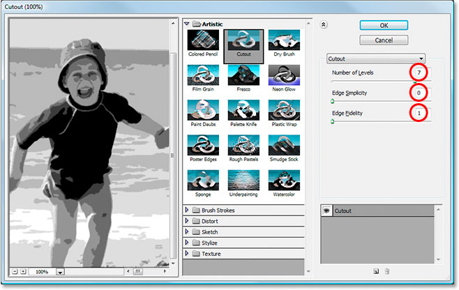 Photoshop's Filter Gallery set to the Cutout filter options.