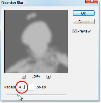 Applying the Gaussian Blur filter to the 'b' channel.