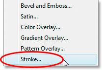 Select the 'Stroke' layer style.