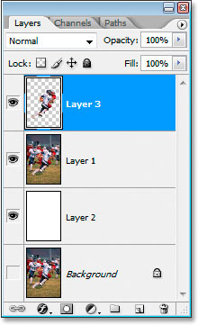 Copying the selection to a new layer.