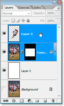Selecting the top two layers in the Layers palette.