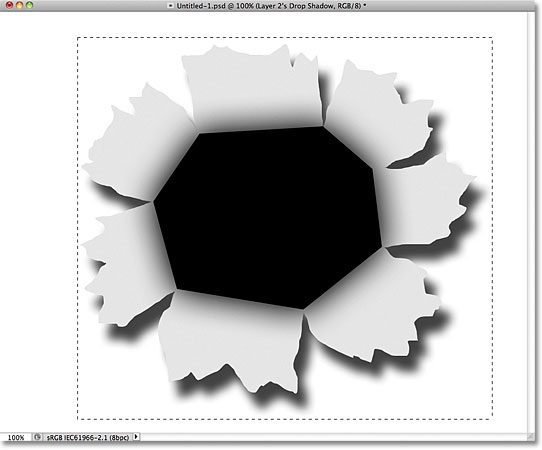 Drawing a rectangular selection in Photoshop.