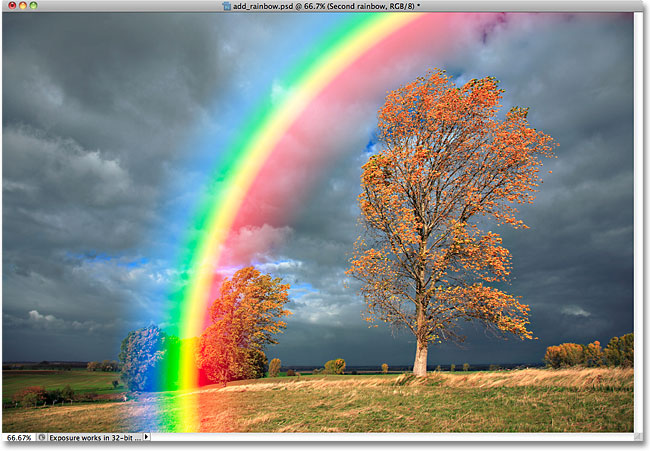 The second rainbow now blends in with the image.
