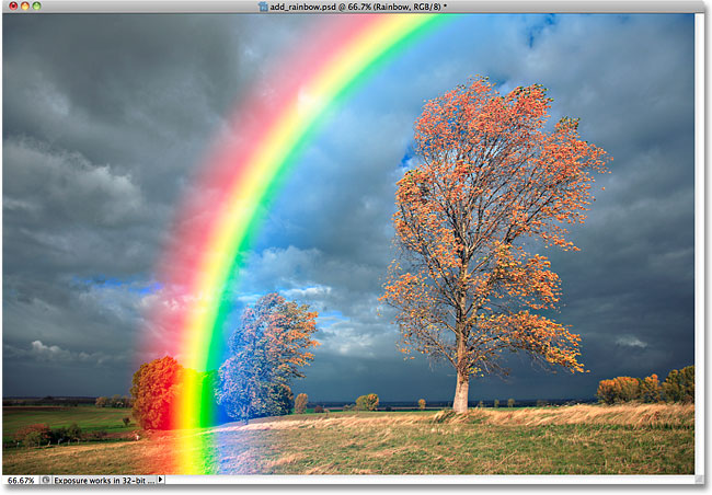 The rainbow after changing the blend mode to Screen.