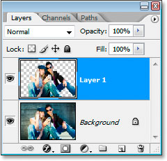 Photoshop's Layers palette showing the selection copied to a new layer.