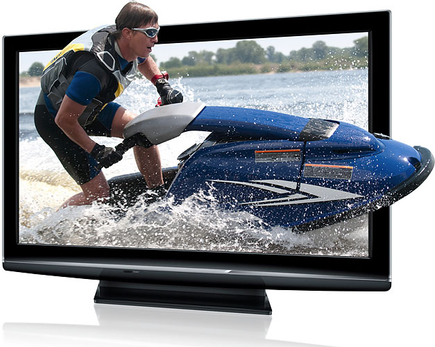 A jetski leaping from a tv screen.