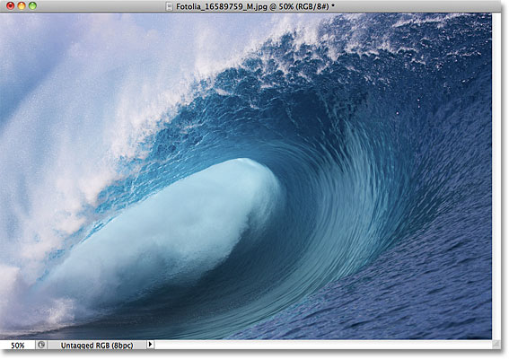 A photo of a giant wave. Image licensed from Fotolia by Photoshop Essentials.com.