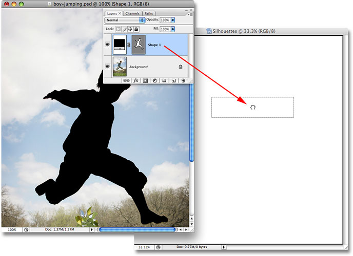 Dragging the shape layer from the original image into the new document. Image © 2008 Photoshop Essentials.com.