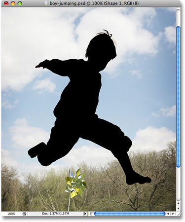 The silhouette of the boy in Photoshop. Image © 2008 Photoshop Essentials.com.