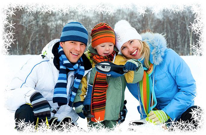 Photoshop Winter Snowflakes Photo Border.