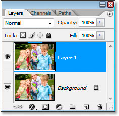 Photoshop's Layers palette now showing the Background layer and the copy of the Background layer above it.