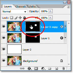 Clicking on the layer mask thumbnail to select the mask, not the layer contents.