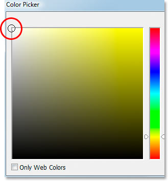 Choosing white in Photoshop's Color Picker.
