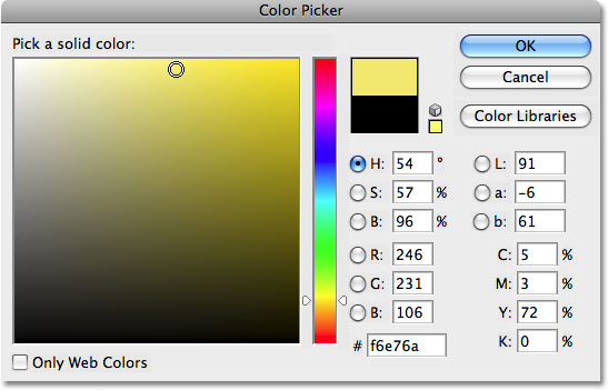 Photoshop's Color Picker. Image © 2008 Photoshop Essentials.com.