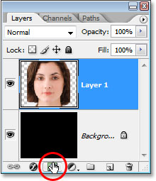Clicking on the 'Add A Layer Mask' icon.