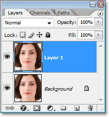 The Layers palette in Photoshop showing the Background layer and the duplicate above it.