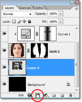 Adding a layer mask to 'Layer 2'.