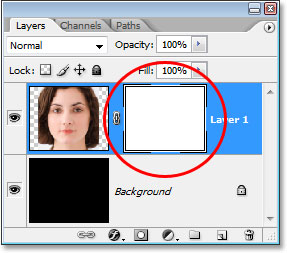 A layer mask thumbanil has been added to the Layers palette.