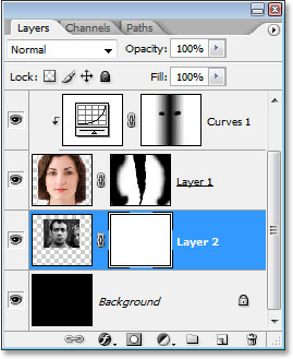The Layers palette showing the layer mask thumbnail on 'Layer 2'.