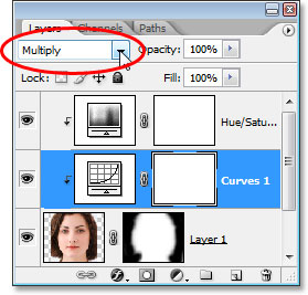 Changing the blend mode of the Curves adjustment layer to 'Multiply'.