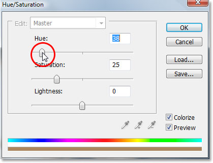 Dragging the Hue slider to select the color for my image.