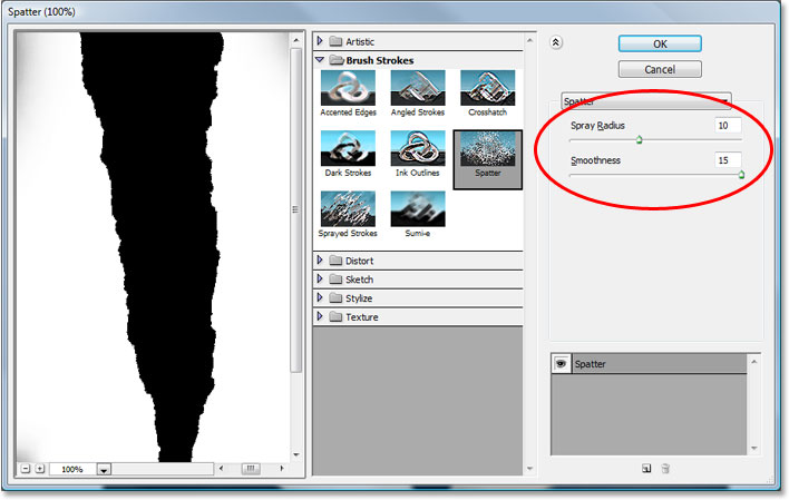 Photoshop's Filter Gallery set to the 'Spatter' options.