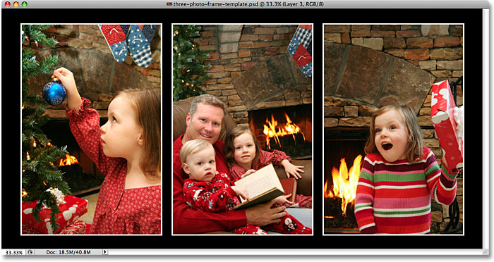 A three image photo frame created in Photoshop.