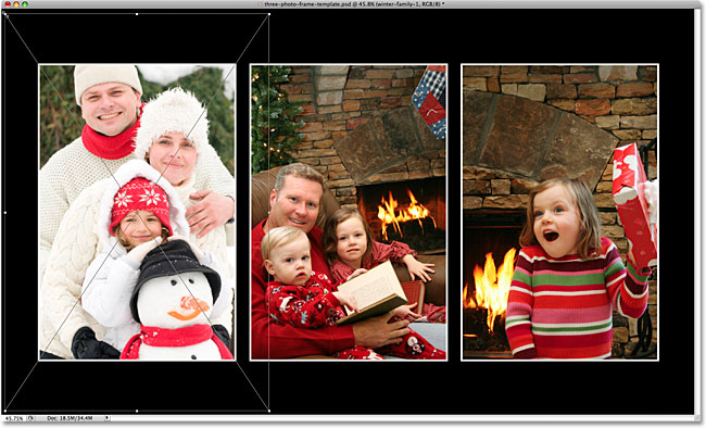 Resizing the new image with Free Transform.