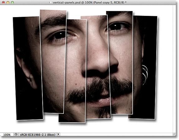 Photoshop vertical photo panels effect.
