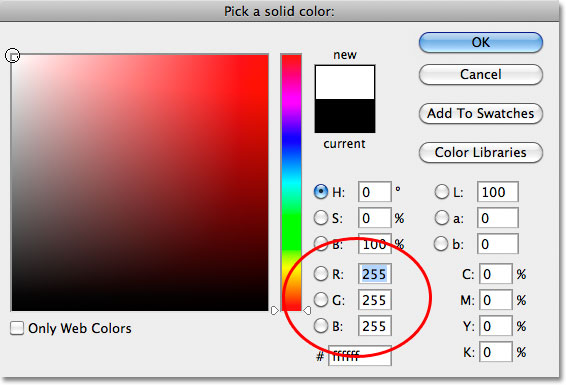 Choosing white from the Color Picker in Photoshop. Image © 2010 Photoshop Essentials.com.