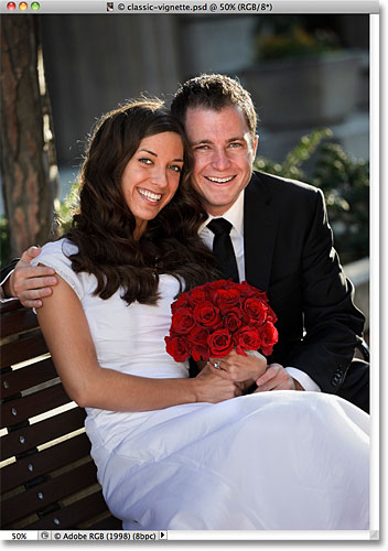 A photo of a wedding couple. Image licensed from iStockphoto by Photoshop Essentials.com.