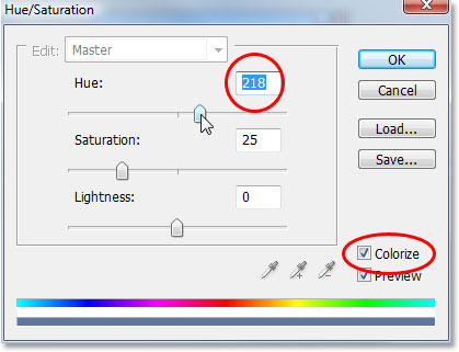 Photoshop's Hue/Saturation dialog box.