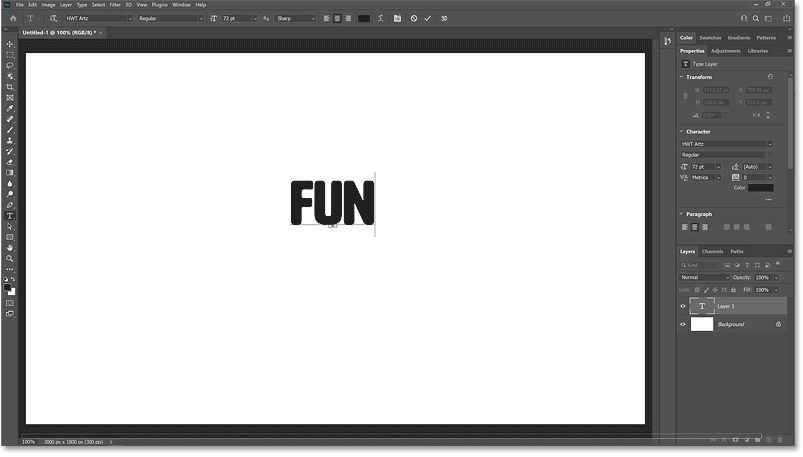 Adding the text to the document in Photoshop.