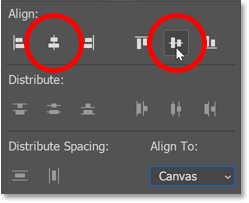 Clicking the Align Horizontal Centers and Align Vertical Centers icons