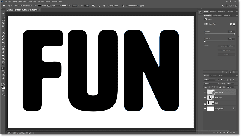 All three letters in the word are again visible.