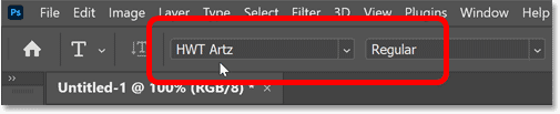 Choosing a font in Photoshop's Options Bar.