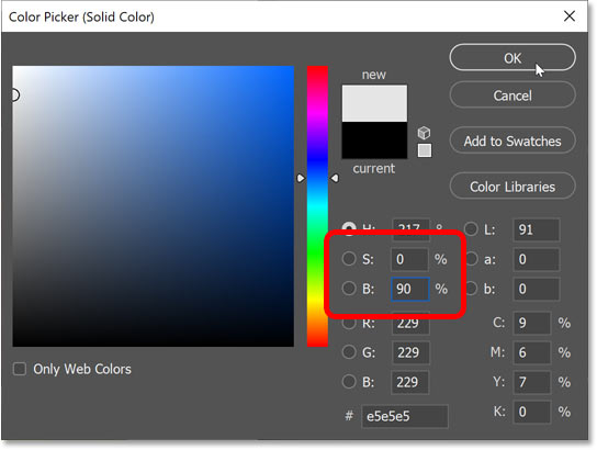 Choosing a light gray from Photoshop's Color Picker.