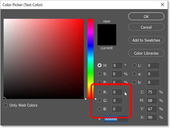 Setting the type color to black in Photoshop's Color Picker.